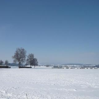 Blick nach Westen auf den Flugplatz; links die Friedhofsmauer
