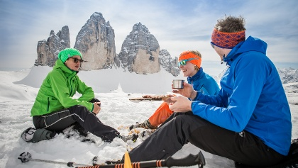 Winterwandern in der Dolomitenregion Drei Zinnen