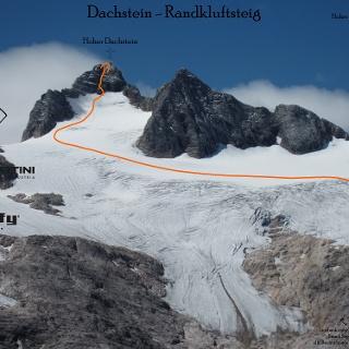 Topo Hoher Dachstein Normalweg - Route in Foto