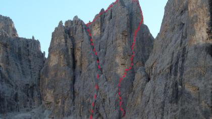 Routenverlauf (rechts) und Abstieg (links)