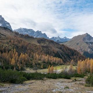 Blick vom Aufstieg in Richtung westliches Lamsenjoch zurück in Richtung Binsalm. Links der Karwendelhauptkamm