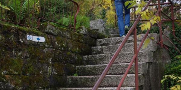 Einstieg in die Tour: ein Treppchen in Schwarzenberg.