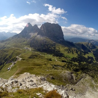 Gipfelblick auf Langkofel, Fünffingerspitze und Grohmannspitze