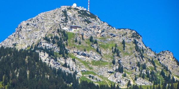 Blick von Bayrischzell auf den Wendelstein