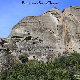 Klettertour Swiss Cheese in Meteora - Übersichtsbild