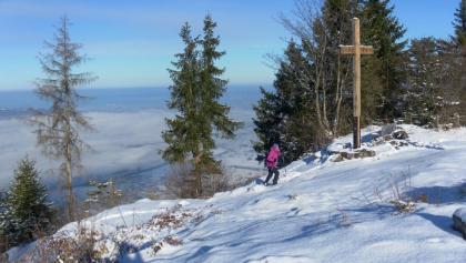 Gipfelkreuz mit Rheintalblick