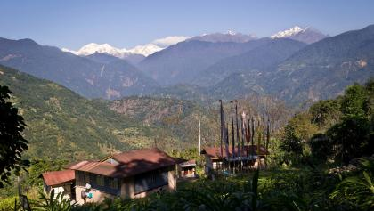 Blick von Pelling auf das Kangchendzonga-Massiv.