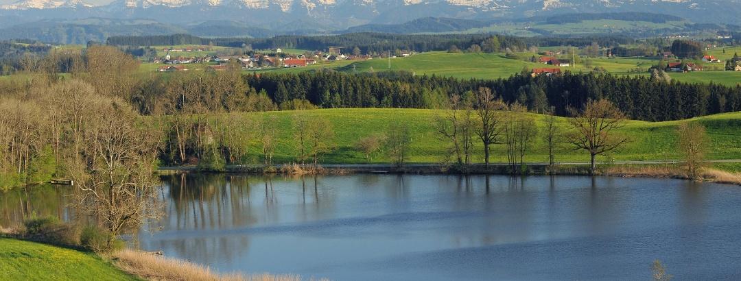 Siggener Weiher, Schloßweiher, Nagelfluhkette, Panorama