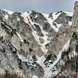 Aufstiegs- und Abfahrtslinie durch die Blechmauernrinne