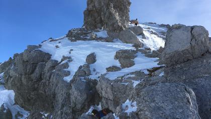 Die letzten Meter zum Gipfel vom Skidepot