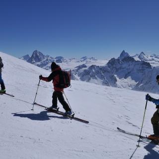 Aufstieg zur Pigne d'Arolla, Blick zum Matterhorn