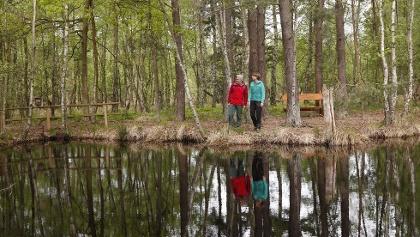 Wanderer am Moorsee im Großen Ribnitzer Moor