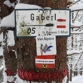 Wegmarkierung am Gaberl