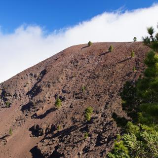 Blick zum Gipfel des Birigoyo beim Aufstieg