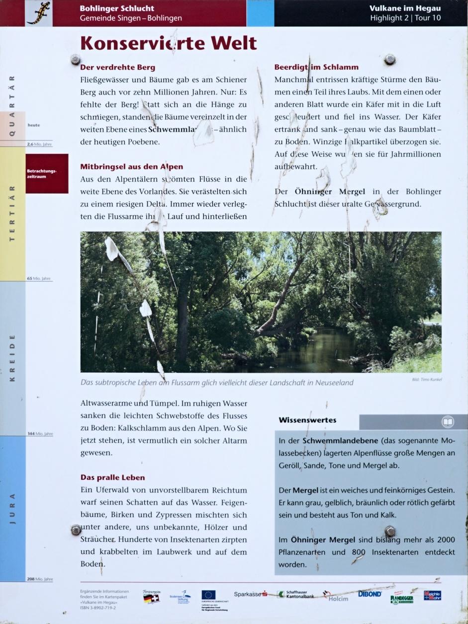 Informationstafel zur Bohlinger Schlucht