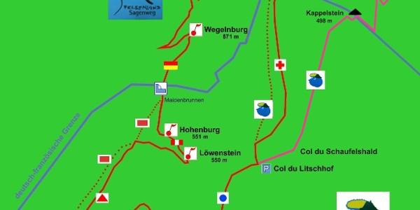 Die Wanderskizze zeigt die Wanderstrecke mit den wichtigsten Wanderzeichen und den POI's