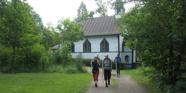 Pilgrims leaving the chapel
