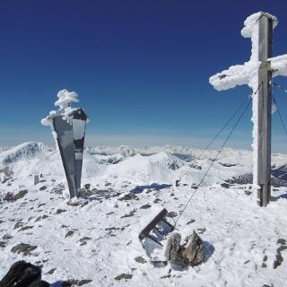 Der höchste Punkt der Tour- Klomnock 2331m. Im Hintergrund der Rosennock