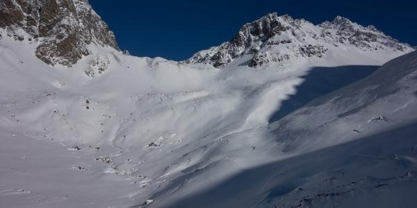 Blick auf S-chardunas, die erste Steilstufe der Tour