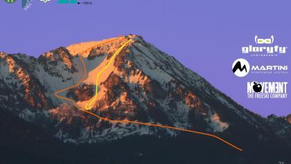 Hochfelln Skitour von Kohlstadt - Übersichtsbild mit Route - Topo