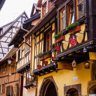 Fachwerkhäuser in Obernai/Elsass