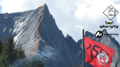 Piz Badile Nordkante - Übersichtsbild mit Route (Topo)