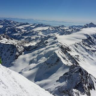 vom Gipfel Richtung Suldenspitz, Zufallspitz und Cavedale