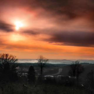 Blick Richtung Rheintal an einem Winterabend
