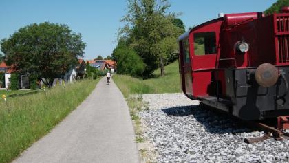 """Bahntrassen-Radeln am """"Sachsenrieder Bähnle""""."""
