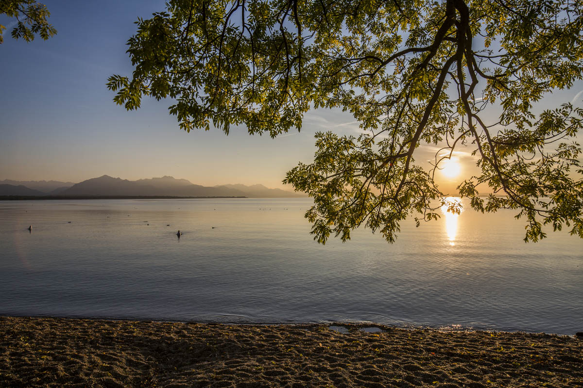 Chiemsee-Sonnenuntergang in Chieming