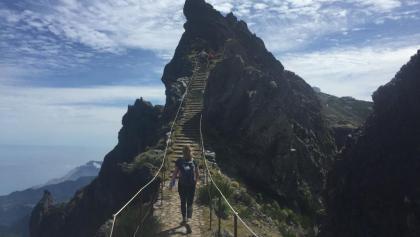 Narrow path with spectacular views near summit of Pico Arieiro