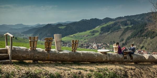 Baumstamm-Bank in Oberharmersbach