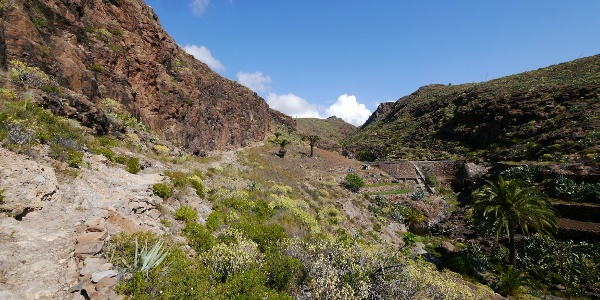 Bald kommen wir an die kleine Staumauer, der Weg wird zu einem schmalen Steinpfad.