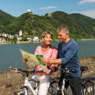 "Rhine Cycle Route near St. Goar with views of Castles Liebenstein & Sterrenberg (called ""the enemy brothers"")"