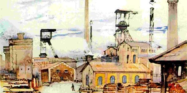 Industrieromantik: Auch den steinernen und stählernen Industrieanlagen ist durchaus etwas abzugewinnen, wie dieses Aquarell vom Oeynhausenschacht (entstanden um 1937) zeigt.
