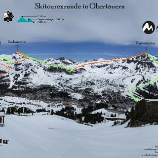 Skitourenrunde in Obertauern - Topo - Übersichtsbild