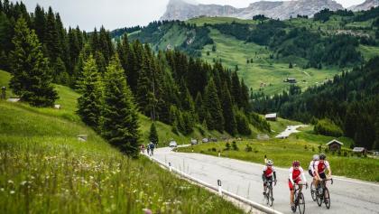 Radfahren am Campolongo-Pass