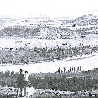 Lithographie nach B. Federle 1861 - Ausblick vom Haspelhäusle