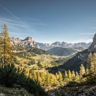 Blick auf Alta Badia vom Grödner Joch