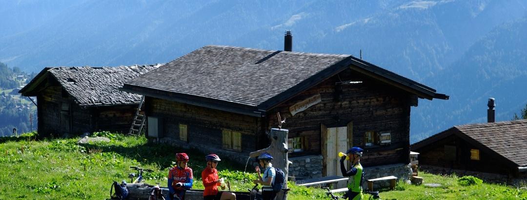 Bikers enjoying the views of Valais