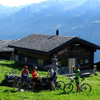 Bikers enjoying the views of Valais