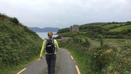 Walking Toward Castle Ruins