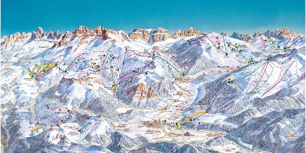 Cartina sciistica Val di Fiemme/ Obereggen 2017