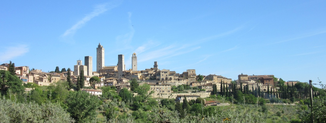 Views of San Gimignano as you leave for today's walk