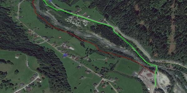 St. Gallenkirch-Galgenul - Rot eingezeichnete Strecke nur am Renntag befahrbar!