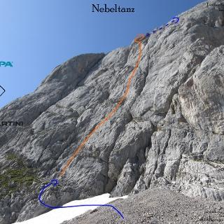 Nebeltanz an der Torsäule - Übersichtsfoto (Topo) der Klettertour