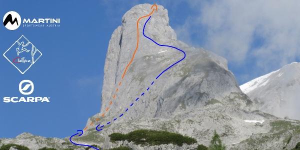 Torsäule - Übersichtsbild der Tour Prechtig und Abstieg