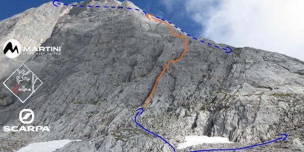 Übersichtsbild der Klettertour Prechtig an der Torsäule (Hochkönig) - Topo