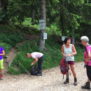 Hier biegt man von dem breitem Aufstiegsweg zum Brunnenkopf nach rechts Richtung Pürschling ab