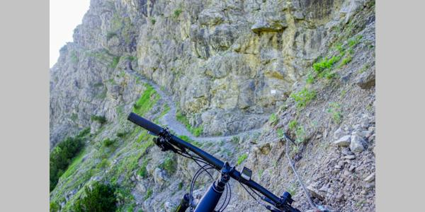 Part of the via ferrata, where the bikes are carried.